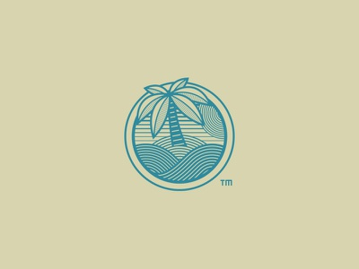Private Island logo design icon island palm tree record outdoors holiday