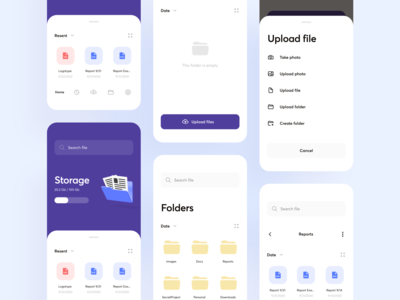 Cloud Storage app concept mobile app file manager upload storage dropbox cloud app design ui