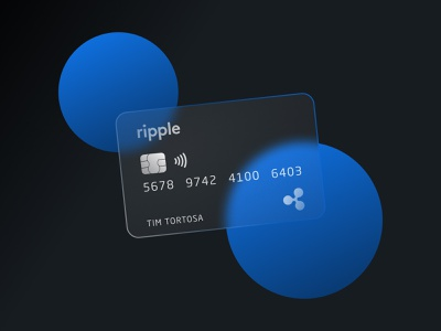 Ripple Credit Card - Glass Design glassdesign glass card design creditcard ripple crypto figma web typography logo vector illustration minimal colors design clean