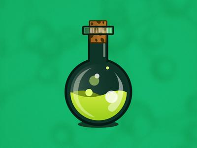 Love Potion # 1 vector art illustrated potion green potion sketch bottle potion