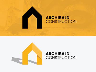 Construction Logo logo design construction company brand shadow house construction yellow logo