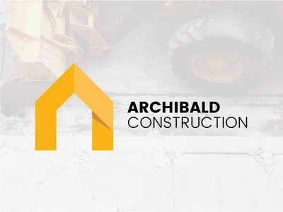 Construction Logo Closer Look logo design construction company brand shadow house construction yellow logo