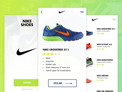Nike Shoes App Interface active wear sports green e-commerce ux ui mobile android ios shoes nike
