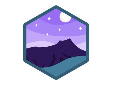 Diamond Head by Night purple hawaii affinity badge illustration