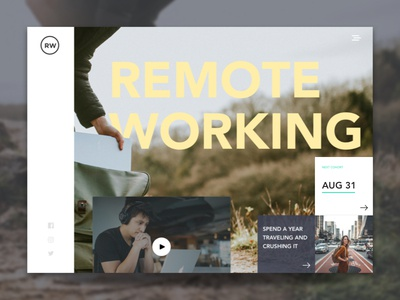 Remote Working Website Design remote designer asymmetrical design layered ui design graphic design web design