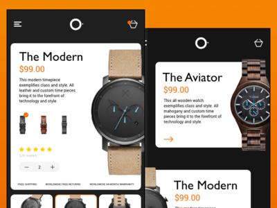 UI Exercise 001 - Watch Store vector responsive ux ui dark app orange uipractice uidesign ios watch