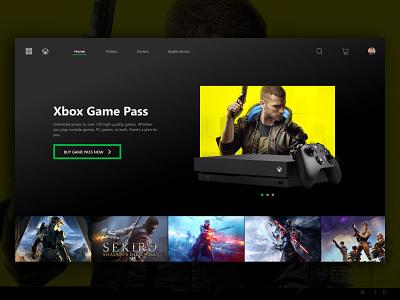 Xbox Console Gaming UI ui design web design website ux ui