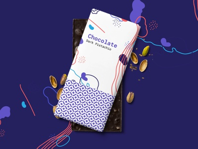 Chocolate Bar Package Concept typography vector branding graphic design pistachio chocolate bar package design packaging