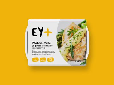EY+ food packaging minimal foodservice food highprotein protein packaging eat readytoeat meals meal design greek alphabet typography visual identity logotype logo branding brand identity greek greece