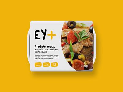 EY+ food packaging nutrition minimal highprotein protein readytoeat foodpanda meals foodpackaging packaging minimalism design greek alphabet typography visual identity logotype logo branding brand identity greek greece