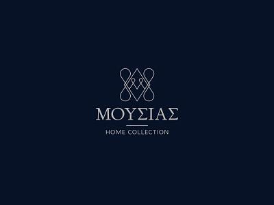 Moussias Home Collection logo elegant vintage home collection symbol monogram linen home linen home minimal minimalism design greek alphabet typography visual identity logotype logo branding brand identity greek greece
