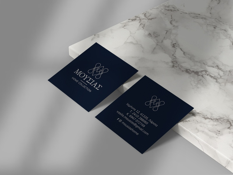 Moussias Home Collection business cards greek font symbol monogram navy blue decoration home collection home linen business cards minimalism design greek alphabet typography visual identity logotype logo branding brand identity greek greece