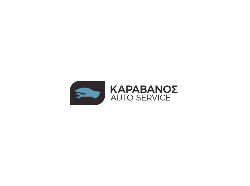 Karavanos Auto Service logo auto fix service car flatdesign minimal autorepair carservice carrepair autoservice minimalism for sale greek alphabet visual identity logotype logo branding brand identity greek greece