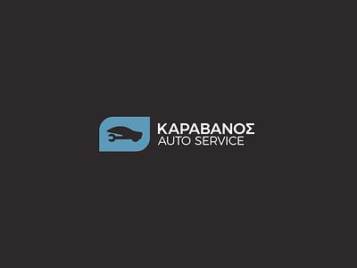 Karavanos Auto Service logo flatdesign carservice fix auto repair car service autoservice carrepair garage design minimalism greek alphabet visual identity logotype logo branding brand identity greek greece