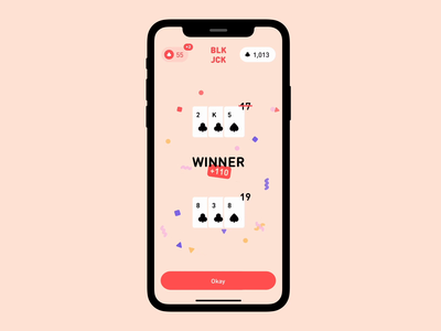 BLKJCK App confetti 12 red interaction animation card game blackjack ui app iphone