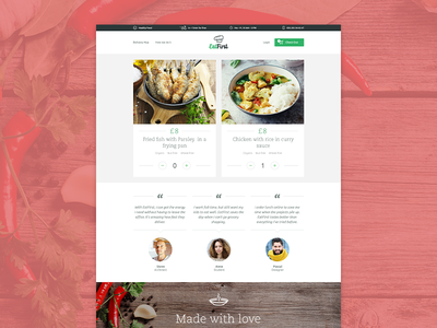 EatFirst - Website delivery web website service product order testimonials homepage navigation background