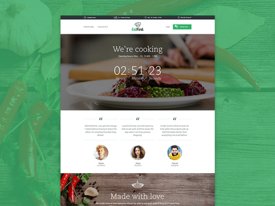 EatFirst - Website teaser web website order delivery service cooking counter startup meal navigation testimonials