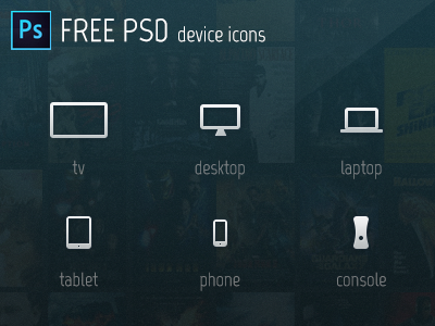 Device Icons - Free PSD console free freebie psd icon device tv photoshop tablet laptop desktop phone