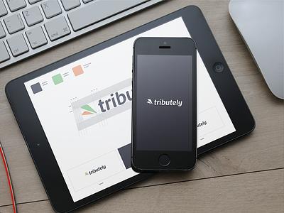 Tributely - Logo Design logo wood keyboard ipad styleguide mockup colors design iphone