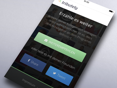 tributely- Confirmation Page gradient facebook button share twitter website confirmation ios web