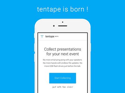 tentape - website launch mobile responsive landingpage tentape blue button product app website web