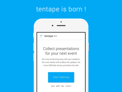tentape - website launch mobile responsive landingpage tentape blue button product app website web