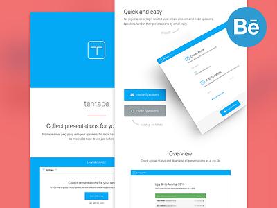 tentape - case study web website app product button blue tentape landingpage responsive mobile