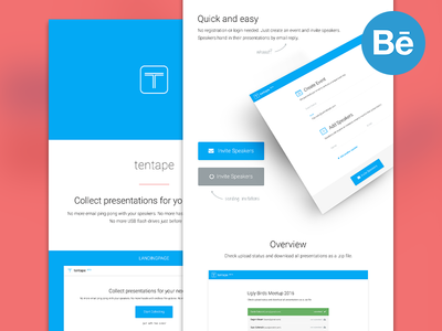 tentape - case study web website app product button blue tentape landingpage responsive mobile