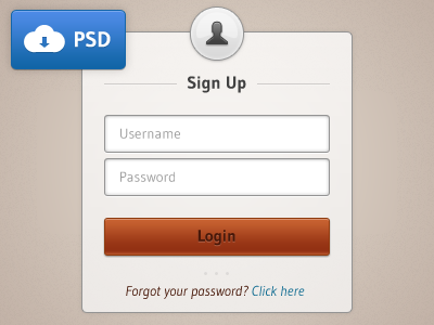 Sign Up - Freebie ui login button input icon freebie psd