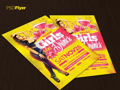 Girls   Drinks Party Flyer drinks catwalk birthday party birthday bash psd template poster invitation night club party flyer flyer