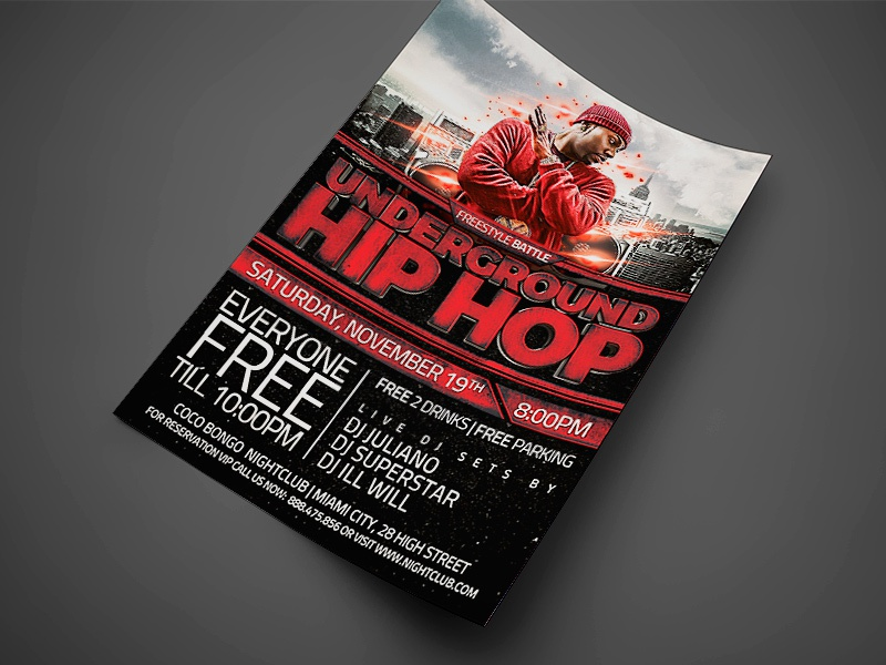 underground hip hop flyer 4x6 jpg1 by jay key dribbble dribbble