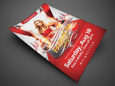 Fashion Night Flyer  New 4x6  model bash.bday fashion psd template poster invitation night club party flyer flyer