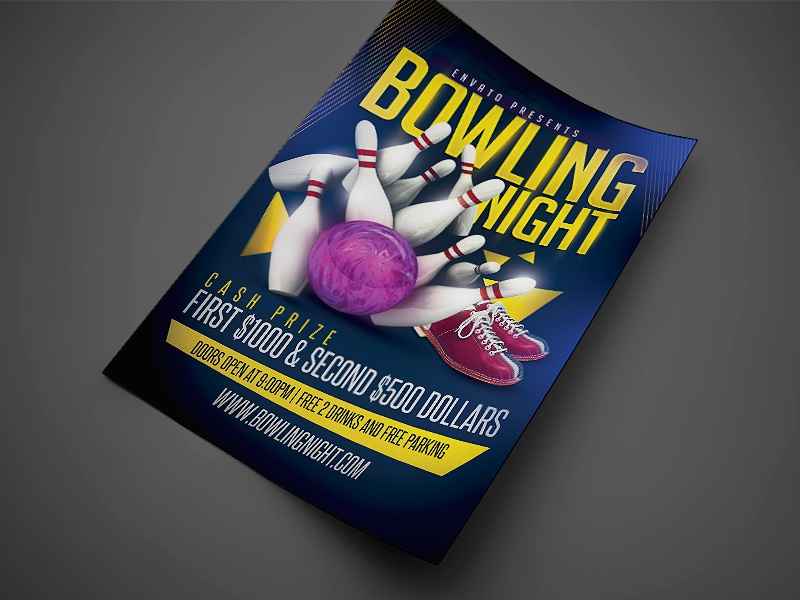 Dribbble  Bowling Flyer Template Free