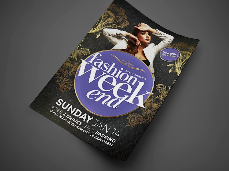 Fashion Weekend Event Flyer classy catwalk birthday party bash psd template poster invitation party flyer flyer