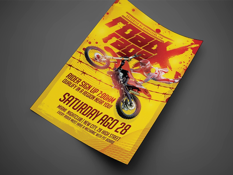 motocross event flyer template yellow by jay key dribbble dribbble