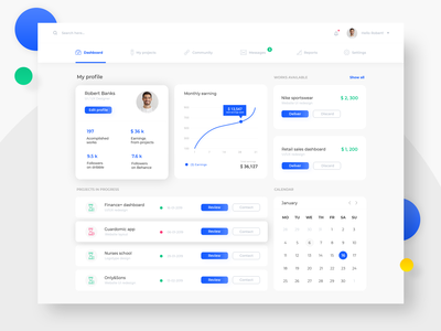 Financial dashboard for e-commerce management.