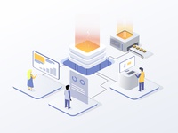 Business strategy. Isometric digital marketing strategy concept.