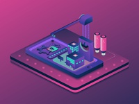Smart technology building isometric for concep
