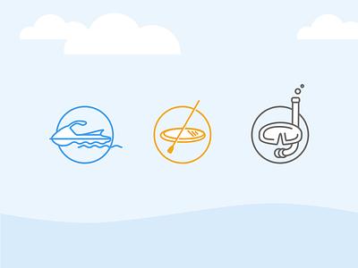 Water sport icons ocean snorkeling snorkel paddle paddle board jet ski sea sport water sport graphic symbol icon
