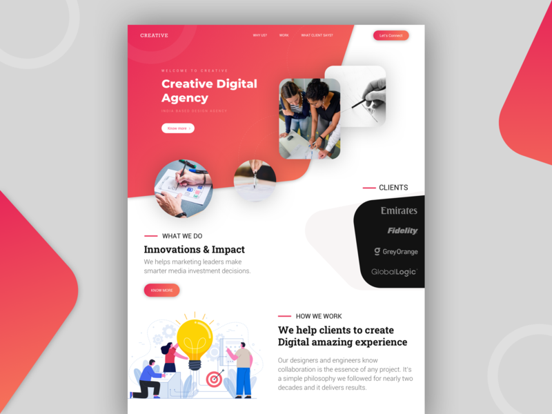 Design Agency Concept landingpage creative design agency ui ux