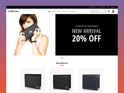 Wallet.me flat clean minimal black website e-commerce