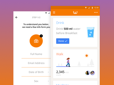 Wellthy App Concept doctors patients diabetes health cards w minimal flat android concept app wellthy