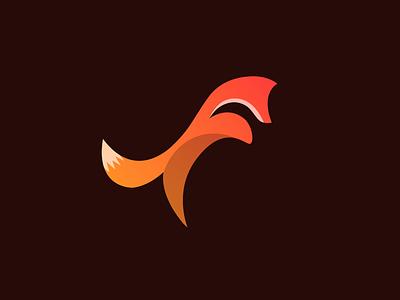 Fox flat almost red orange minimal gradient logo fox
