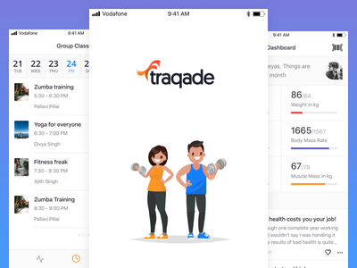 Users' App ios flat splash dashboard calendar traqade fitness gym app user