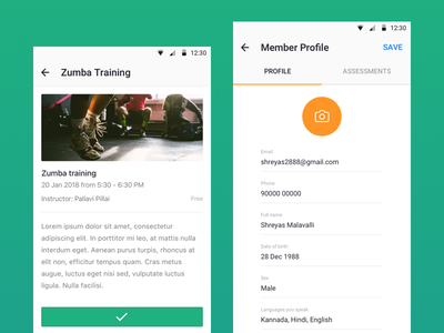 Traqade Android - User App profile flat design material app user android traqade