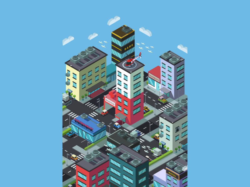 Isometric City Screen Saver P3 screensaver flat illustration flat design flat 3d web app ux clouds building icon ui adobe illustrator isometric art isometric vector illustrator illustration design