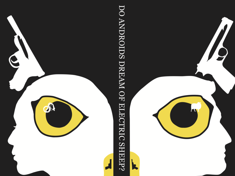 Do Androids Dream of Electric Sheep? vector art illustration book cover design
