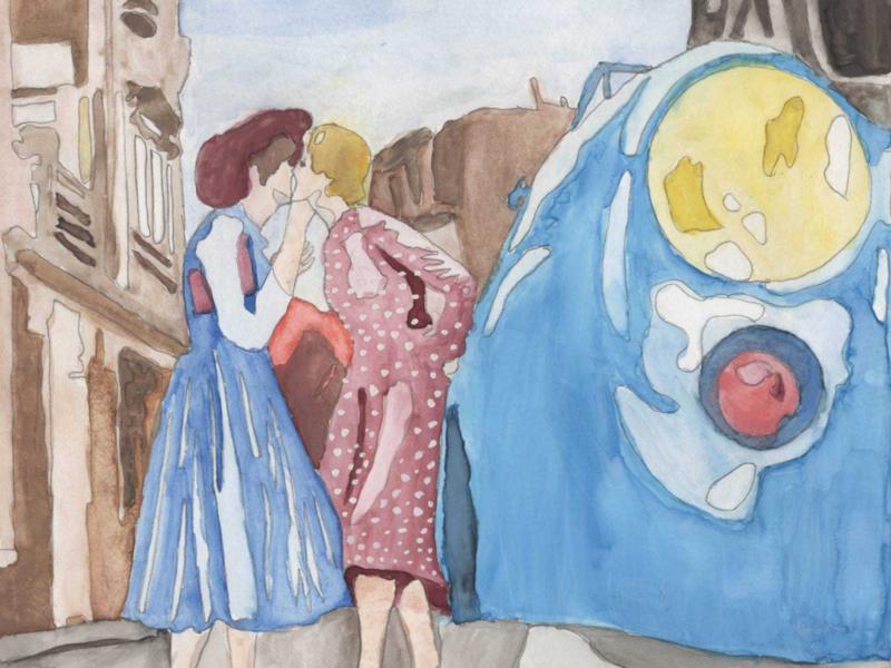 Americana 1950s primary colors americana design watercolor lgbtqia illustration