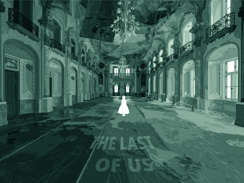 The Last of Us abandoned monochrome the last of us poster design vector art illustration