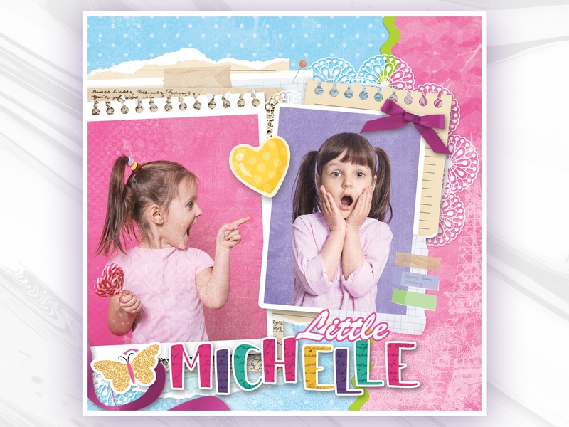 Kids Photo Design - Little Michelle Scrapbook Style scrapbooking scrapbook